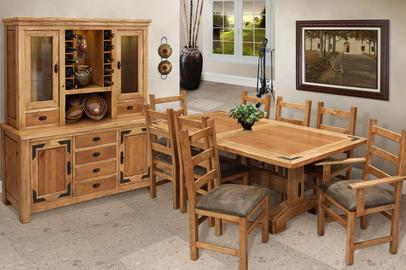 lodge trestle table dining room set southwest