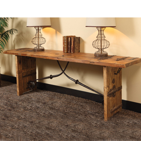 Old World reclaimed wood console table