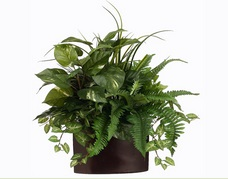 large wood container mixed silk plants