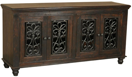 4 door dark wood dresser buffet console