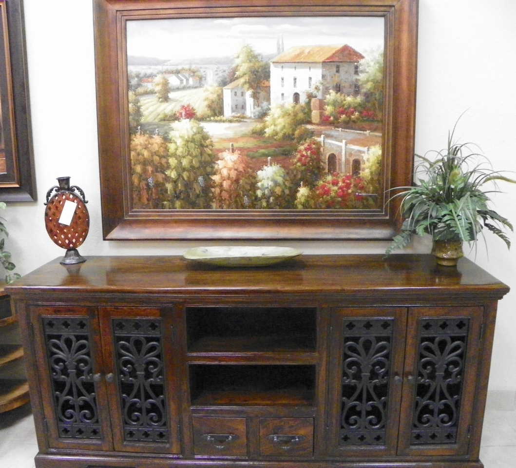 tuscan solid wood living room furniture phoenix az large TV console media stand