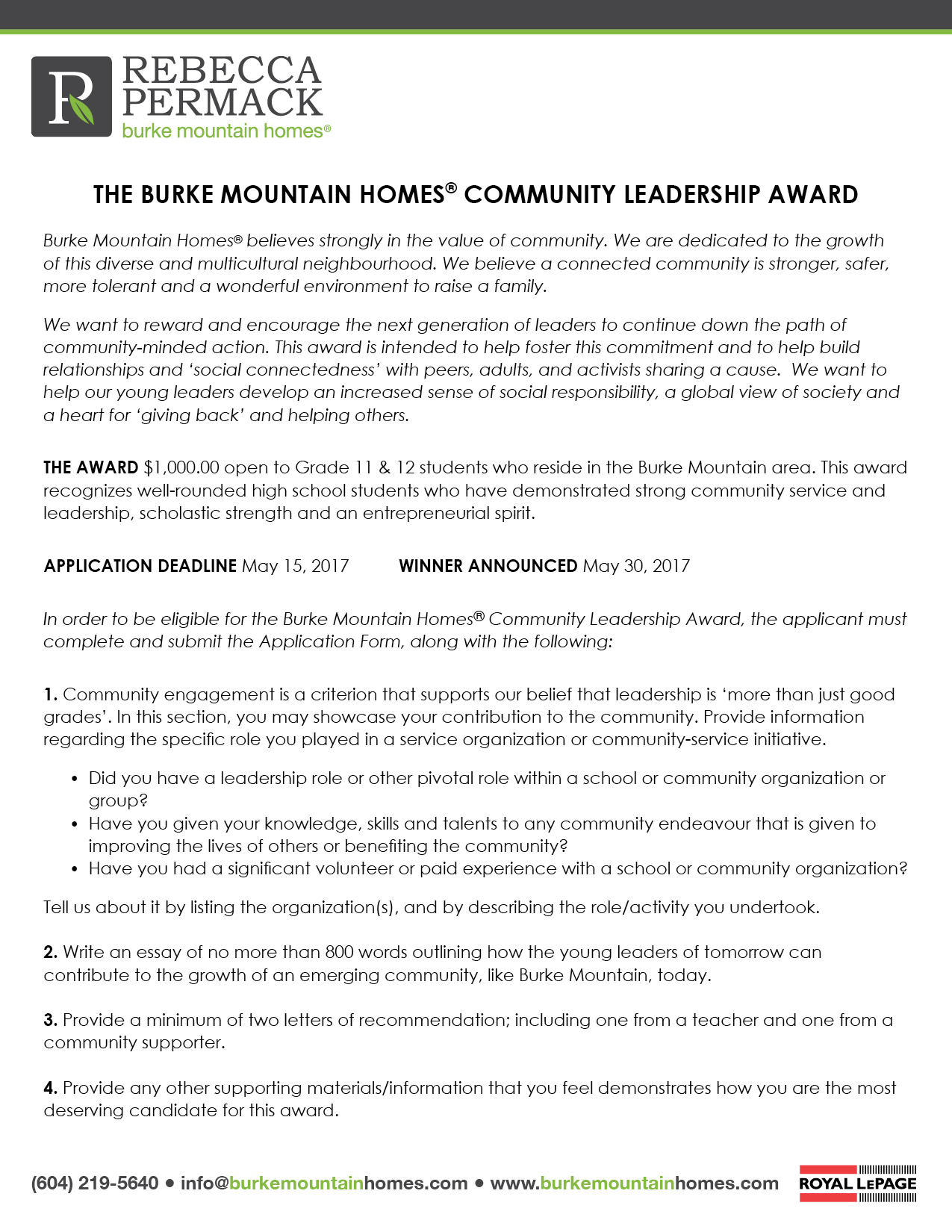 Burke Mountain Homes® Leadership Award