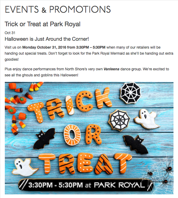 Park Royal Trick or Treat