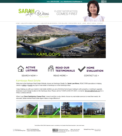 Sarah Lee Wiens Kamloops Realty website
