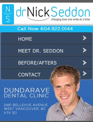 Ubertor Mobile Website - Dr Nick Seddon Dundarave Dental