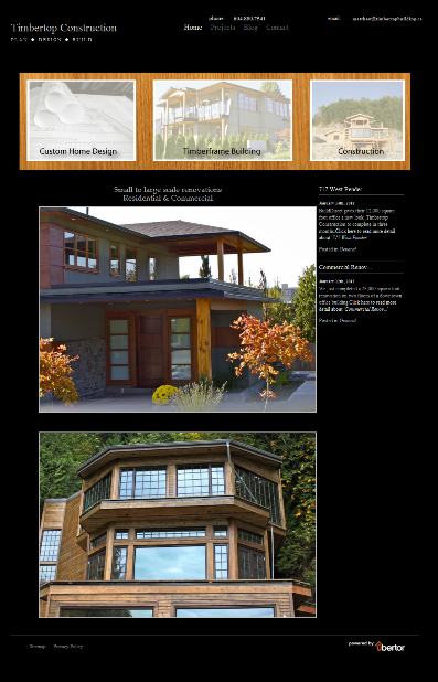 Timbertop Construction Website Screenshot