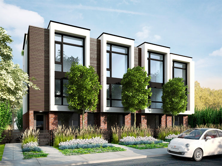 Blog blanc modern townhomes sure to turn heads in kitsilano for Modern townhouse exterior