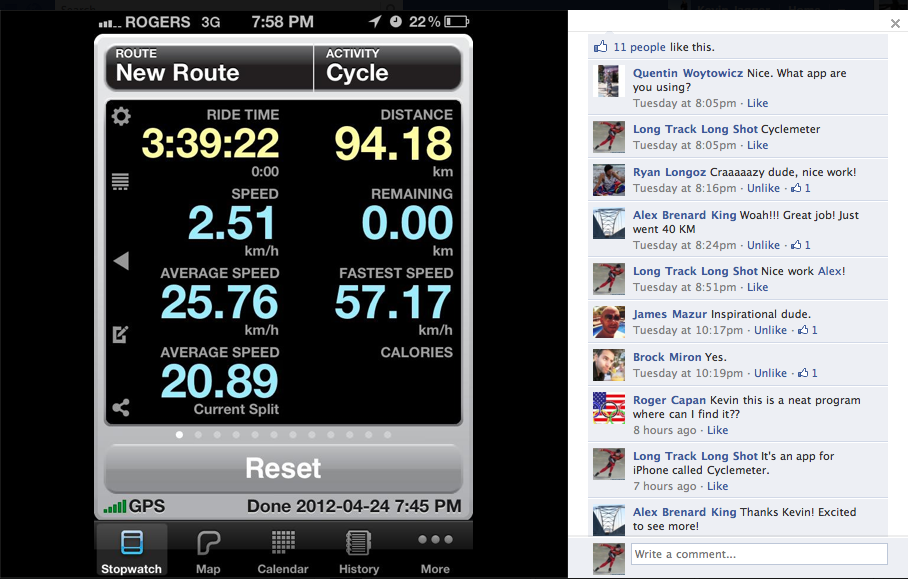 Facebook Screenshot Cyclemeter iPhone App Cycling Kevin Jagger Long Track Speed Skating Athlete Sports Blog.png