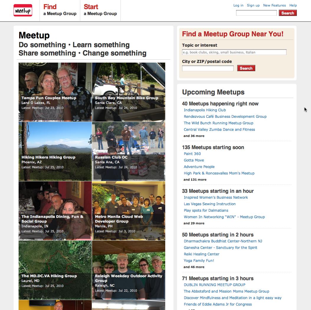 meetup homepage