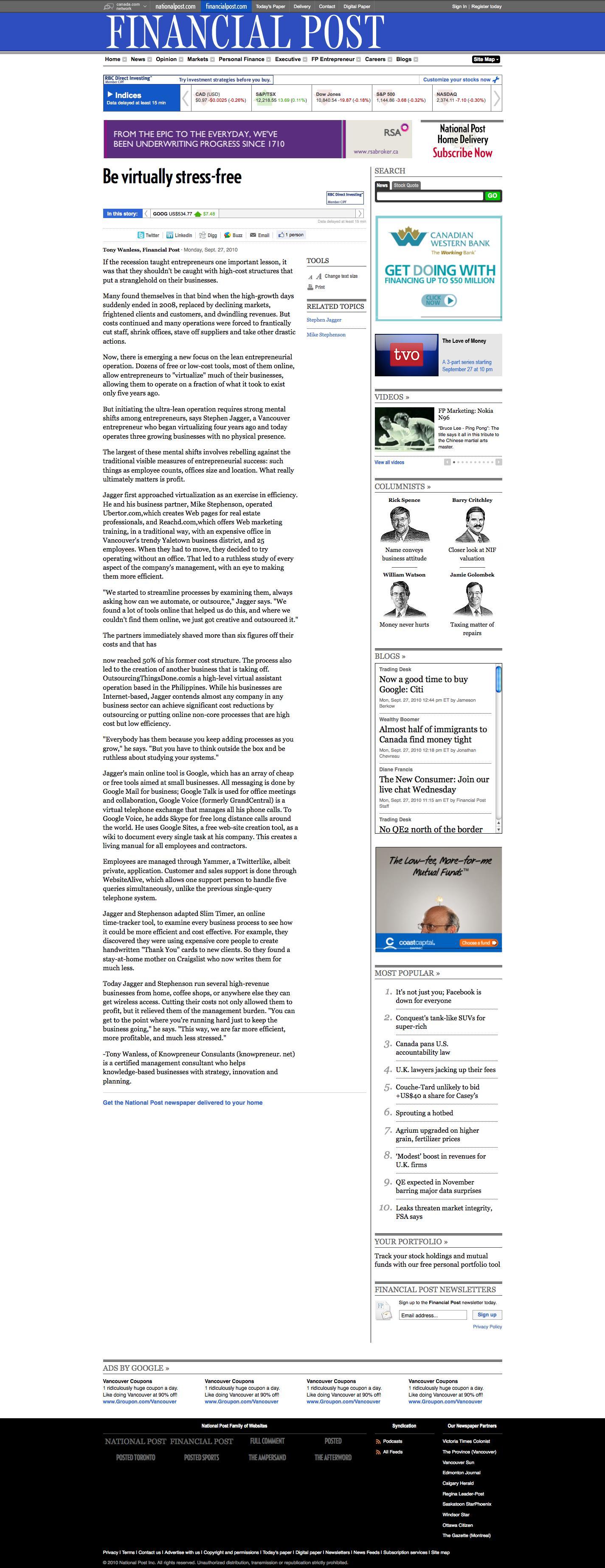 financialpost.com article about virtual business